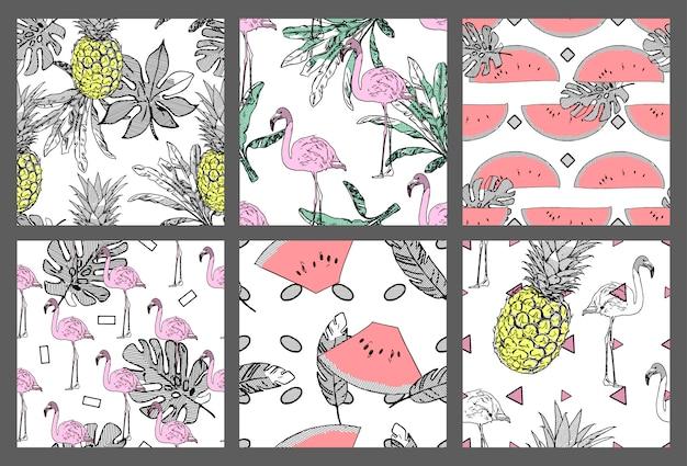 Set van exotische naadloze patronen.