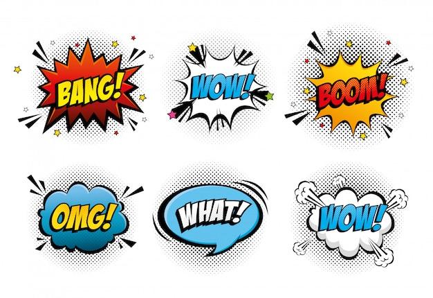 Set van expressies en explosies pop-artstijl