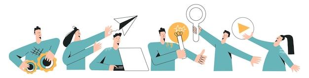 Set van externe teamkarakters moderne platte vectorillustratie gedistribueerde teamwerksamenwerking