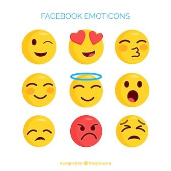 Set van facebook emoticons in vlakke stijl