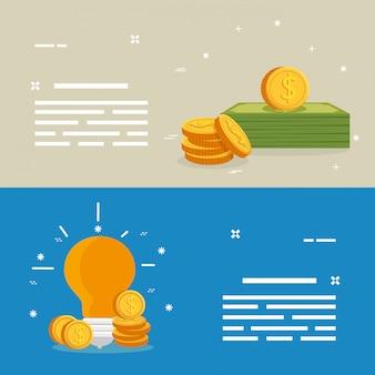 Set van facturen met munten en gloeilamp