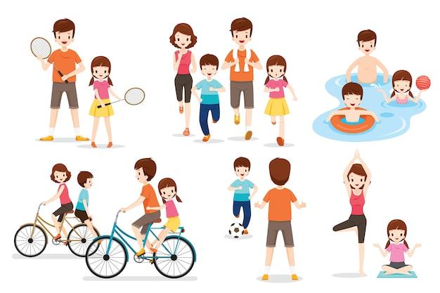 Set van familie met verschillende oefeningen en sportactiviteiten