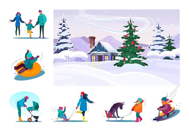 Set van familie plezier tijdens wintervakantie