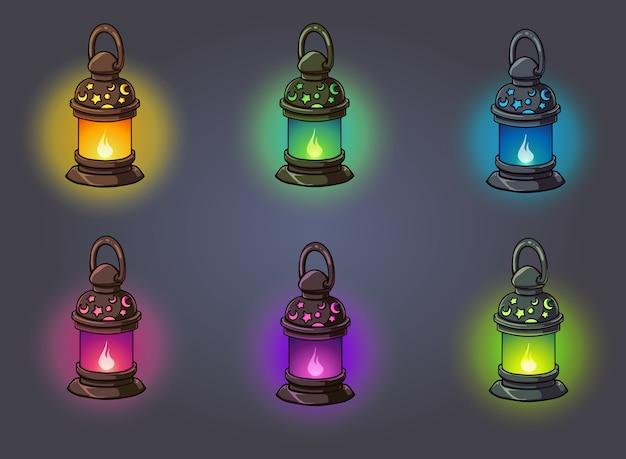 Set van fantasie glanzende lampen