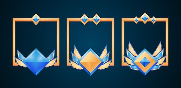 Set van fantasie gouden en diamanten grenskader met rang voor gui-activa-elementen