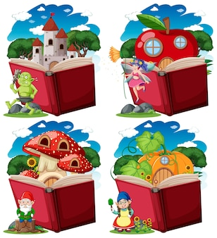 Set van fantasie karakter met pop-up boek cartoon stijl op wit