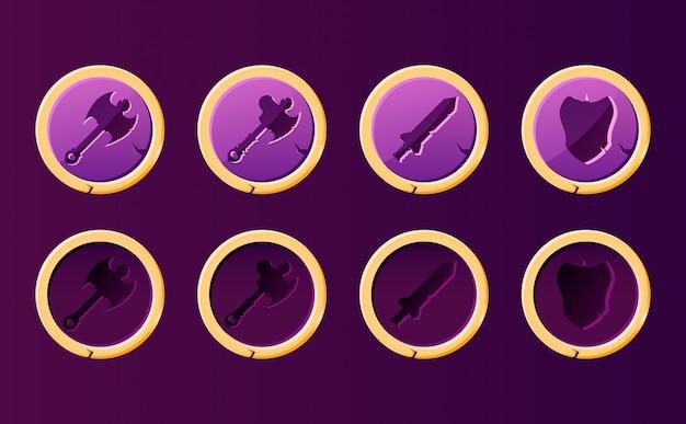 Set van fantasie wapen knop met gouden rand. perfect voor 2d rpg-vechtspellen