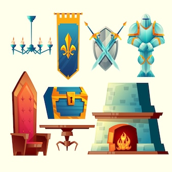 Set van fantasieartikelen, sprookje game design-objecten voor interieur