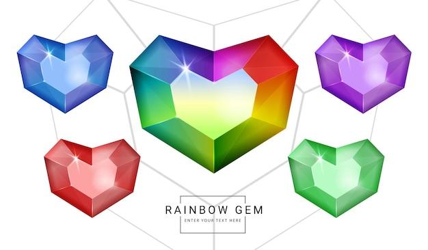 Set van fantasiejuwelen edelstenen in regenboogkleuren, hartvormsteen voor spel.