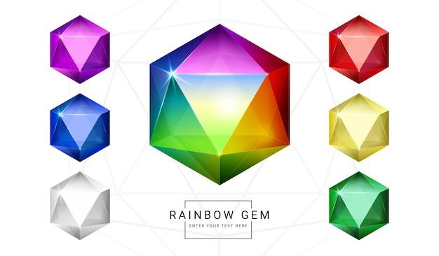 Set van fantasiejuwelen edelstenen in regenboogkleuren, steen voor spel.