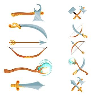 Set van fantasy cartoon spelontwerp gekruist en in de rij zwaarden, bijlen, personeel en boog wapen geïsoleerd op wit