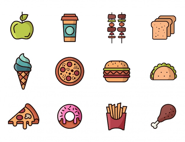 Set van fast-food pictogrammen gekleurd. pizza, hamburger, donut, taco