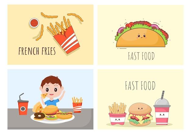Set van fastfood achtergrond vectorillustratie