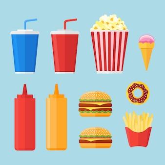 Set van fastfood-elementen in vlakke stijl.