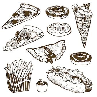 Set van fastfood. hamburger, donut, ijs, hotdog, patat, pizza. illustratie voor menu's, recepten en pakkettenproduct