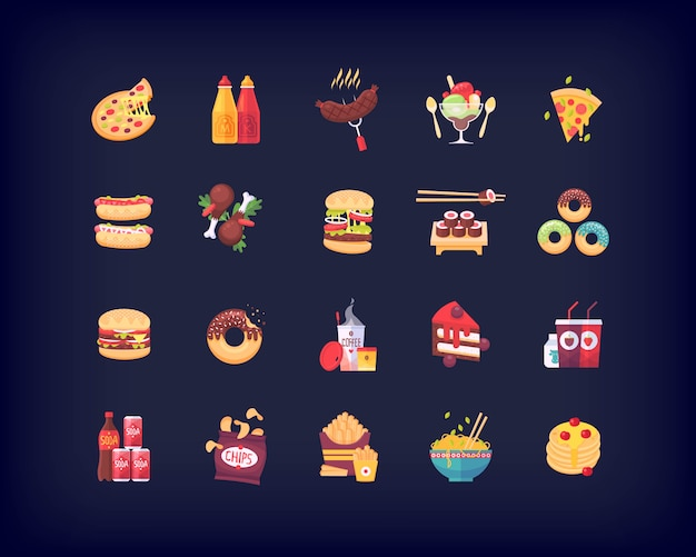 Set van fastfood iconen