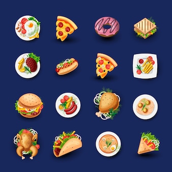 Set van fastfood pictogrammen.