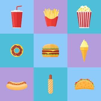 Set van fastfood plat pictogrammen. donut, hamburger, frietjes, popcorn, frisdrank afhaalmaaltijden, ijs, hotdog en taco.