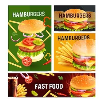 Set van fastfood realistische afbeelding