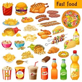 Set van fastfood