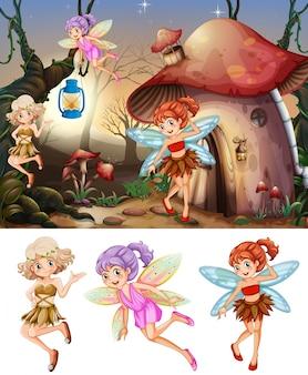 Set van feeën in houtscène