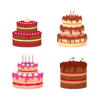 Set van feestelijke of verjaardagstaarten geïsoleerd op een witte achtergrond. taarten met chocolade en bessen. bakkerij en zelfgemaakt concept.