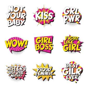 Set van feministische slogans in retro pop-art stijl in komische tekstballon op witte achtergrond.