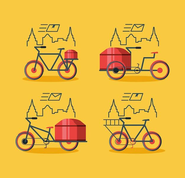 Set van fiets voor logistieke service