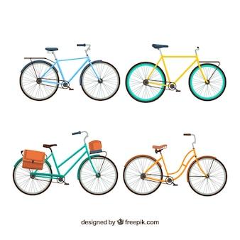 Set van fietsen in vlakke vormgeving