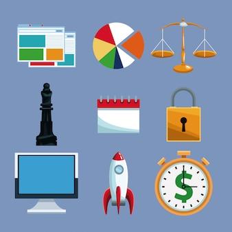 Set van financiële tools technologie-collectie