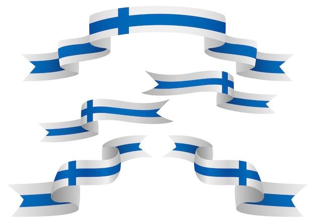 Set van finland insignes in verschillende vorm van linten