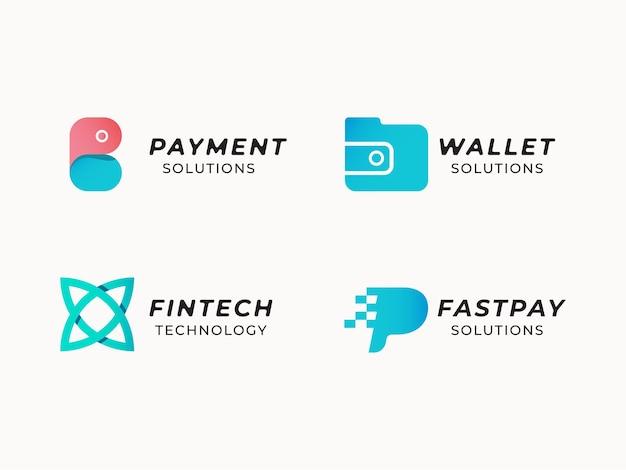 Set van fintech logo ontwerpconcept
