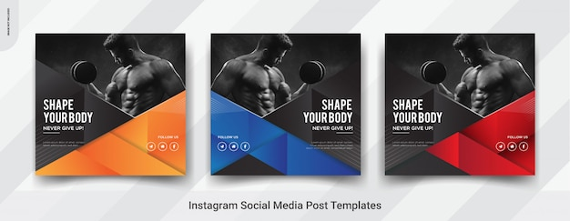 Set van fitness, gym insta post social media post sjabloonontwerp