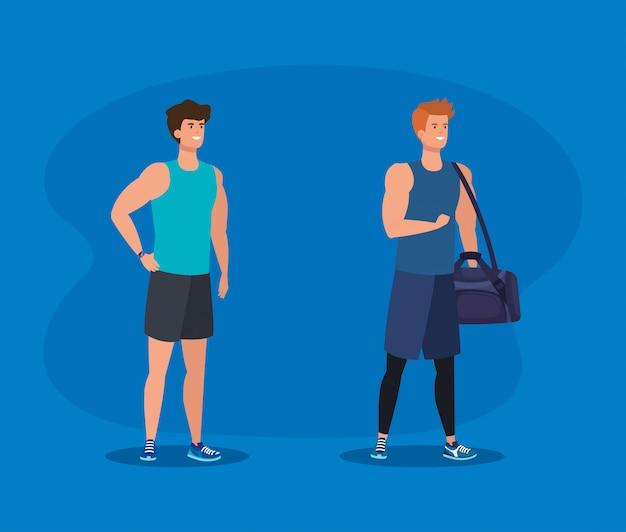 Set van fitness mannen met tas om activiteit uit te oefenen