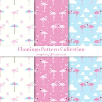 Set van flamingo patronen met strand elementen