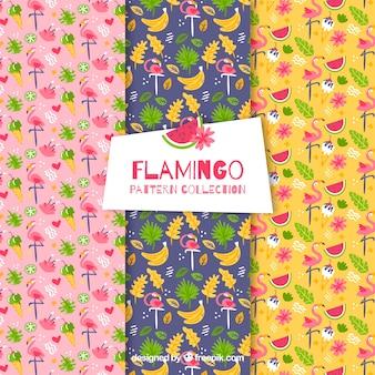 Set van flamingo's patronen met planten en fruit