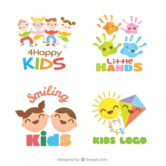 Set van flat kinderen logos