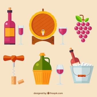 Set van flat wijnelementen