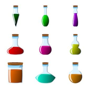 Set van fles en fles pictogram. label van fantasiedrank en elixer. cartoon stijl.