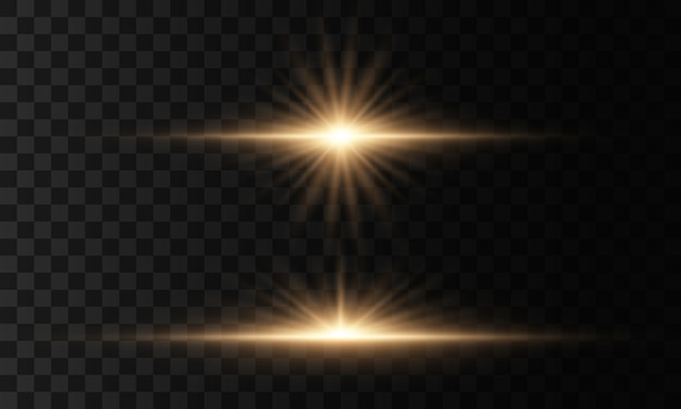 Set van flitsen, lichten en schittert op een transparante