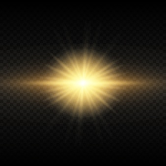 Set van flitsen, lichten en sparkles. helder goud knippert en schittert. abstracte gouden lichten geïsoleerd heldere lichtstralen. gloeiende lijnen