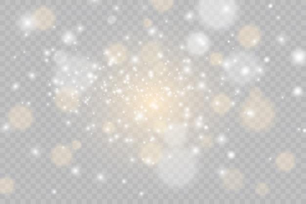 Set van flitsen, lichten en sparkles. helder goud knippert en schittert. abstracte gouden lichten geïsoleerd