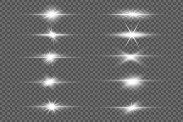 Set van flitsen, lichten en sparkles. helder goud knippert en schittert.