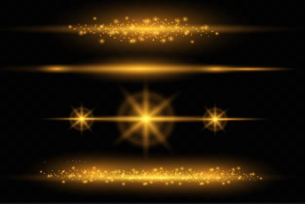 Set van flitsen, lichten en sparkles