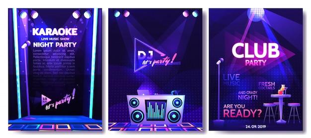 Set van flyer ontwerpsjabloon voor een feestje in een nachtclub
