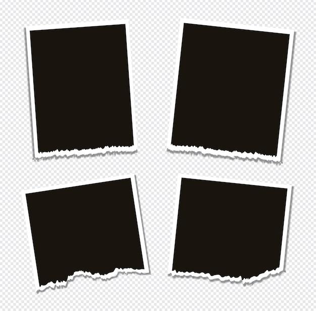 Set van fotolijst ontwerp op plakband geïsoleerd op transparante achtergrond