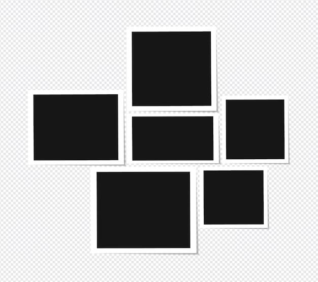 Set van fotolijstontwerp op plakband geïsoleerd op transparant