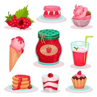 Set van frambozen eten en drinken. ijs, potje jam, verse cocktail en lekkere desserts. elementen voor menu of receptenboek