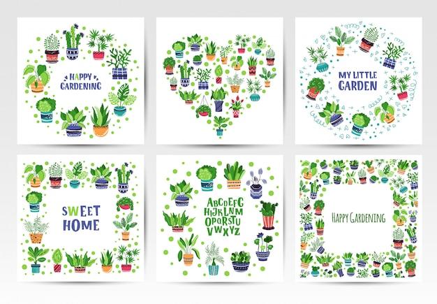 Set van frames van thuis potplanten of bloemen