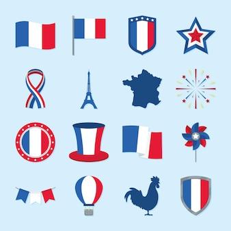 Set van frankrijk bastille dag iconen